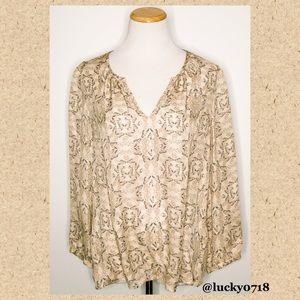 Joie EUC Tan & Gray Print Silk Blouse Sz XS